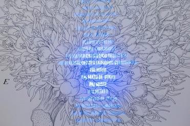 Luna BENGOECHEA, Elaeis Guineensis bulbo, (2018). Tinta negra y tinta sensible a la luz UV sobre papel Fabriano, 100 x 70 cm © Cortesía: Galería Lucía Mendoza, Madrid