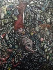 Marco ALOM, Las tentaciones de San Antonio [detalle2] (2019). Tinta, acuarela y pan de oro sobre papel,180 x 230 cm © Cortesía: Galería de Arte Artizar, Santa Cruz de Tenerife