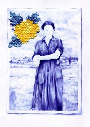 Nuria RIAZA, Las Golondrinas (2018). Bolígrafo, hilo y pintura acrílica sobre papel algodón, 29 x 24,5 cm © Cortesía: Galería Pepita Lumier, Valencia